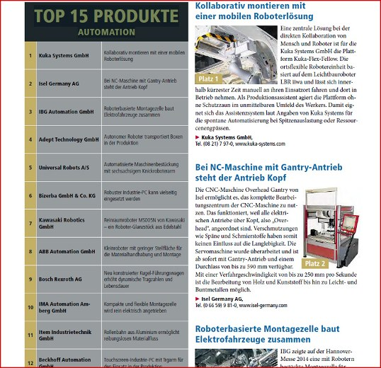 Top 15 products in Automation - Isel in the second place